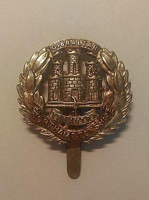 Northamptonshire Regiment - Cap badge of the Northamptonshire Regiment.