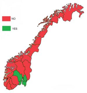 Norwegian European Union membership referendum, 1994 - Image: Norwegian EU membership referendum, 1994 result by counties
