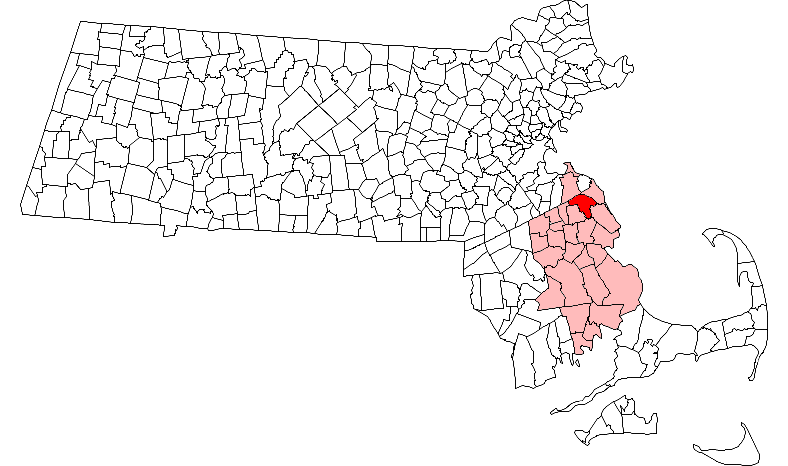 Location in Plymouth County in Massachusetts