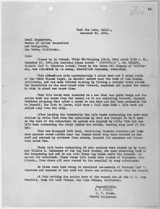 SS Montebello - Report on the sinking.