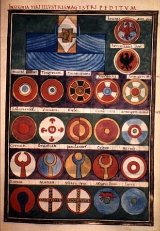 Batavi (military unit) - Page from the Notitia Dignitatum depicting the shields of the units under the command of the Magister peditum of Italy. The first shield on the last line belongs to the Batavi seniores.