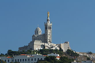 Religion in France - Notre-Dame de la Garde in Marseille. Catholicism is the largest religion in France.