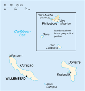 Map showing French Saint-Martin (north) and Dutch Sint Maarten (south).