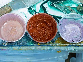Oil paint - Three oil paints, one of which is mixed with wax