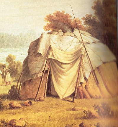 Ojibwe wigwam, from an 1846 painting by Paul Kane