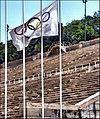 Olimpic flag into the stadium Panathenaiko - panoramio.jpg