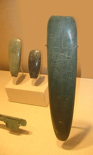 "Celt (tool) - Three Olmec celts.  The one in the foreground is incised with an image of an Olmec supernatural.  It is likely that these ""tools"" had a strictly ritual function."