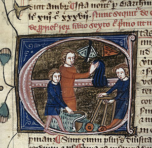 "Omne Bonum - Miniature for the entry etas ""age"" (Royal MS 6 E VII, fol. 67v) showing children playing with toys and catching butterflies."