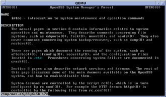 Man page - OpenBSD section 8 intro manpage, displaying in a text console
