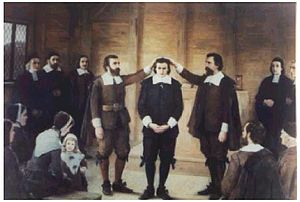 Thomas Carter (minister) - 19th-century painting by Albert Thompson, on display at the Woburn Public Library, depicting Thomas Carter's ordination as minister of Woburn, Massachusetts on November 22, 1642.