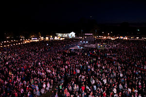 Sweet Home, Oregon - Country music fans watch an evening concert at The Oregon Jamboree in Sweet Home.
