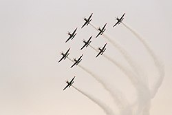 Orlik Aerobatic Team, turning, Radom AirShow 2005, Poland.jpg
