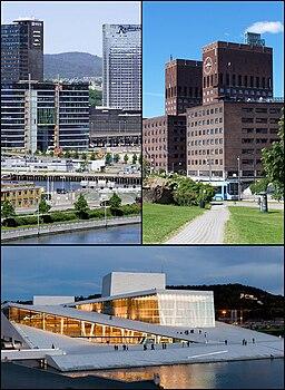 Oslos siluett, Oslos stadshus och det nya operahuset.