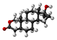 Oxandrolone molecule ball.png