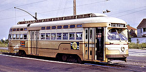 Cleveland Railway (Ohio) - A PCC streetcar in Cleveland, Ohio, in the 1950s