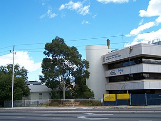Princess Margaret Hospital for Children - Hospital from corner of Hay and Thomas Streets