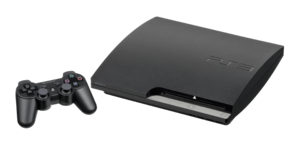 "The 120GB PS3 ""Slim"" model. Shown wi..."
