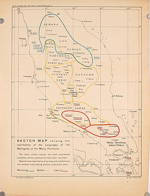 Semang - Map from Pagan Races of the Malay Peninsula (1906). Blue = Semang; yellow = Sakai tribe; red = Jakun people.
