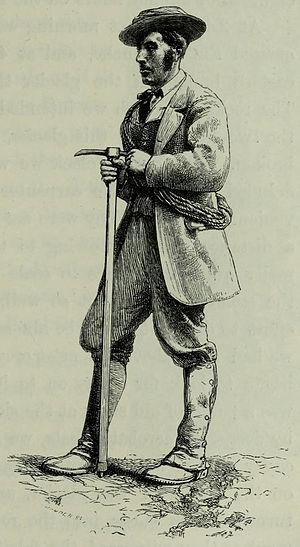 Melchior Anderegg - Whymper's engraving of Melchior Anderegg (1864)
