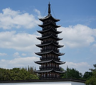 Songjiang Square Pagoda tower in the style of a pagoda in Shanghai, China