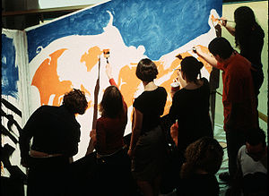 The 1 Second Film - Participants paint one frame of The 1 Second Film's animation during a party.