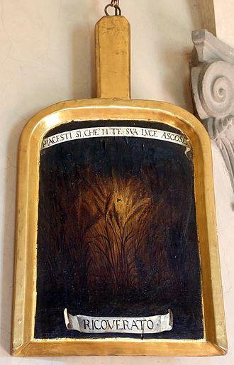 Mario Guiducci - Mario Guiducci's spade of membership at the Accademia della Crusca with his pseudonym ('Ricoverato')