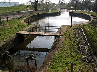 Stecknitz Canal - The Palmschleuse lock in Lauenburg, a preserved original lock from the Stecknitz Canal