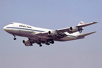Wide-body aircraft - Boeing 747, the first wide-body passenger aircraft, operated by Pan Am
