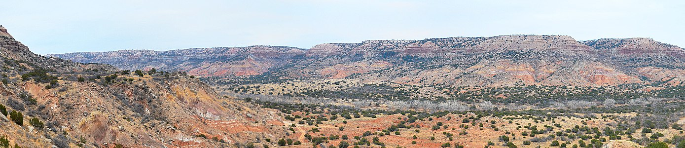 Panoramic view of the Palo Duro Canyon showing the Quartermaster, Tecovas, Trujillo and Ogallala formations