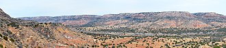 Palo Duro Canyon - Panoramic view of the Palo Duro Canyon showing the Quartermaster, Tecovas, Trujillo and Ogallala formations