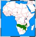 Paracynictis selousi range map.png
