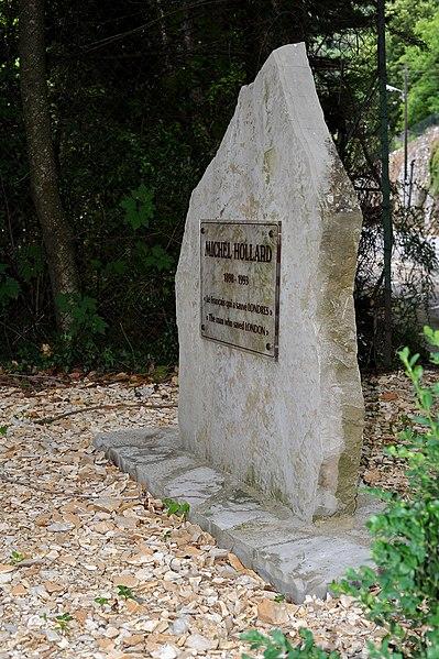 Municipal park of Gorniès; Hérault, France. Memorial for Michel Hollard.