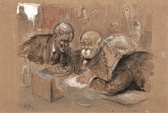 Paris Peace Conference, 1919 - Woodrow Wilson, Georges Clemenceau and David Lloyd George confer at the Paris Peace Conference (Noël Dorville, 1919)
