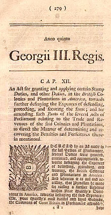 Stamp Act 1765 - Wikipedia, the free encyclopedia