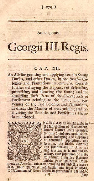 American Revolution - Notice of Stamp Act of 1765 in newspaper