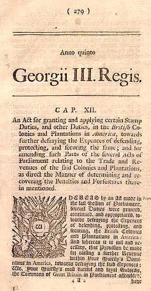 Parliament Stamp Act 1765