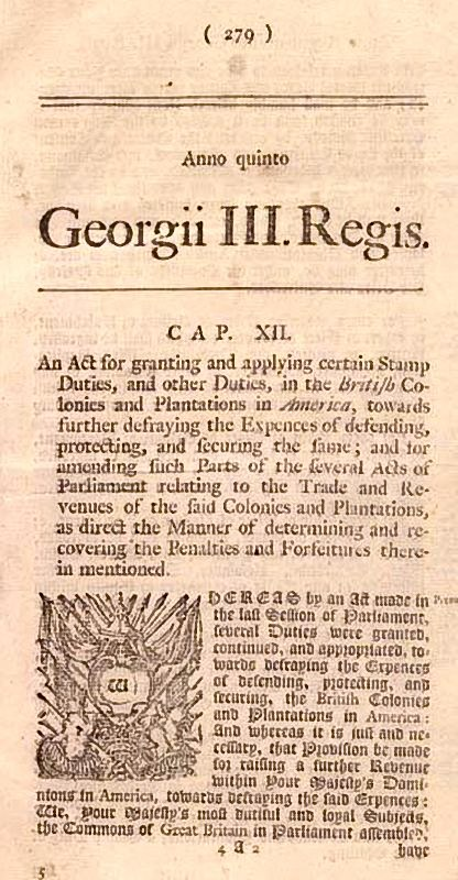Parliament Stamp Act1765