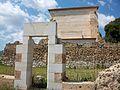 Part posterior de l'església de la cartoixa de Valldecrist, al davant una porta reconstruïda.JPG