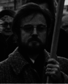 Participant in a demonstration for the release from prison of Vladimir Bukovsky, Amsterdam, 4 January 1975.png