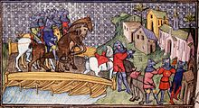 A medieval image of a group of mounted knights crossing a wooden bridge