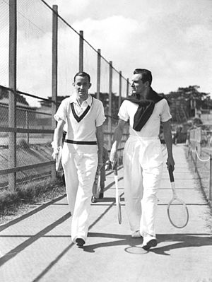 Fred Perry - Fred Perry (right) with Pat Hughes at White City in Sydney, Australia in 1934
