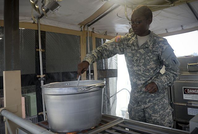 Soldier making ballistic gel