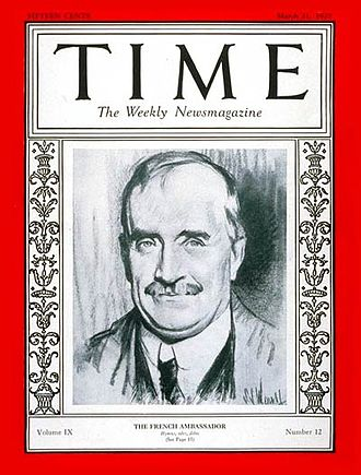 Paul Claudel - Cover of Time Magazine (March 21, 1927)