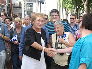 Parti Québécois - Former PQ leader Pauline Marois greets voters in Quebec City on the eve of the 2012 general election.