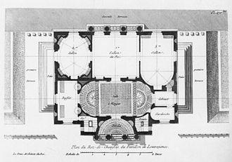 Château de Louveciennes - Pavillon de Louveciennes: ground floor plan shows the rich variety of shapes