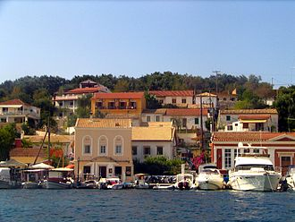 Gaios - Rows of houses in Gaios, as seen from the strait