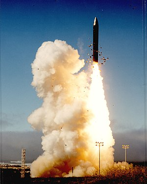 Peacekeeper missile after silo launch, Vandenb...