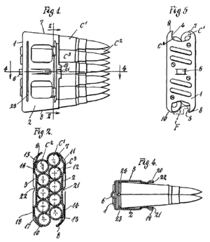 Pedersen rifle - En-bloc clip loaded with 10 rounds of .276 Pedersen. Image from John Pedersen patent.