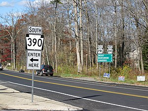 Pennsylvania Route 191 - PA 191 at the southern terminus of the PA 390 concurrency in Paradise Township.