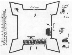 Presidio Santa Maria de Galve - A 1699 Spanish drawing of Fort San Carlos de Austria, the main fort at the presidio
